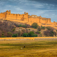 Amber Fort under grey skies.