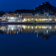 Pushkar Sarovar (Pushkar lake) and ghats by night.
