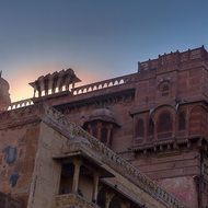 Sun peeks through Junagarh Fort.