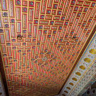 Gaj Mandir decorated ceiling.