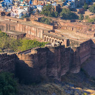 Portion of the blue city, Jodhpur, outside the fort walls.