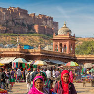 Mehrangarh Fort stands above the Sardar Market.