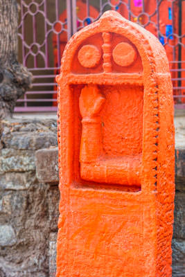 Thumbnail image ofFreshly painted temple stone indicating blessings.