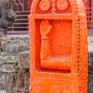 Freshly painted temple stone indicating blessings.