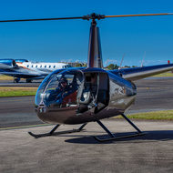 Robinson R44 helicopter at Sunshine Coast Airport.