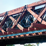 Strengthened timber truss bridge over Williams River, detail.
