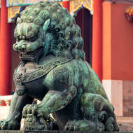 Female bronze lion at Gate of Supreme Harmony.