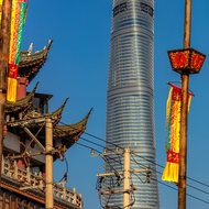 Old and new: the Shanghai Tower and the roofs of the old town Nanshi.