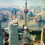 Shanghai cityscape with Oriental Pearl Radio and TV Tower from the Jin Mao Tower.