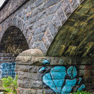 Bluestone arched bridge.