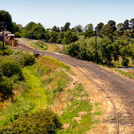 Road view from signal gantry into Daylesford wye railway station.