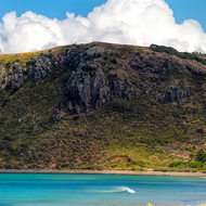 Panorama of The Nut at Stanley, 143-metre-high volcanic plug.